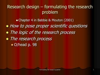 Research design   formulating the research problem