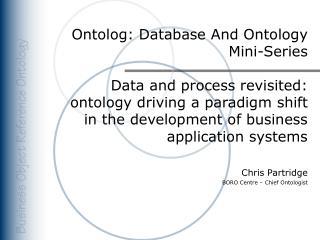 Ontolog: Database And Ontology   Mini-Series