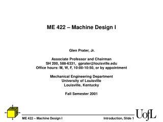 ME 422 – Machine Design I