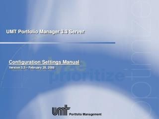 UMT Portfolio Manager 3.3 Server