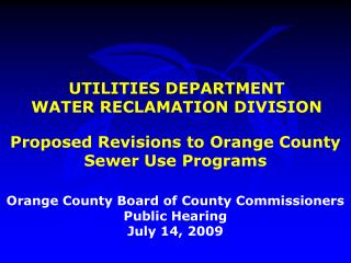 UTILITIES DEPARTMENT WATER RECLAMATION DIVISION