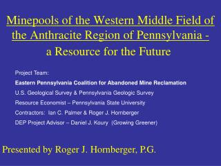 Minepools of the Western Middle Field of the Anthracite Region of Pennsylvania -