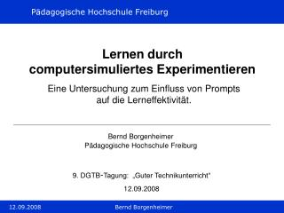 Lernen durch  computersimuliertes Experimentieren