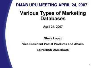 DMAB UPU MEETING APRIL 24, 2007