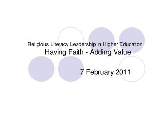 Religious Literacy Leadership in Higher Education