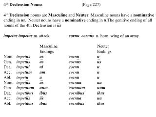 4 th  Declension Nouns		 (Page 227)