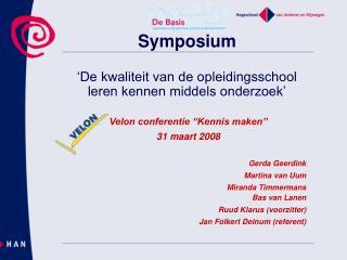 Symposium 'De kwaliteit van de opleidingsschool  leren kennen middels onderzoek'