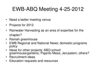 EWB-ABQ Meeting 4-25-2012