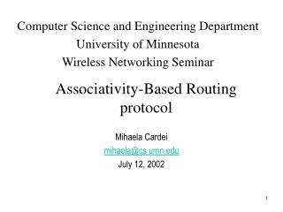Associativity-Based Routing protocol