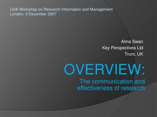 Alma Swan Key Perspectives Ltd Truro, UK