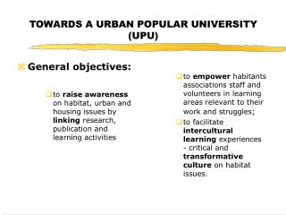 TOWARDS A URBAN POPULAR UNIVERSITY (UPU)