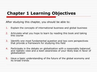 Chapter 1 Learning Objectives