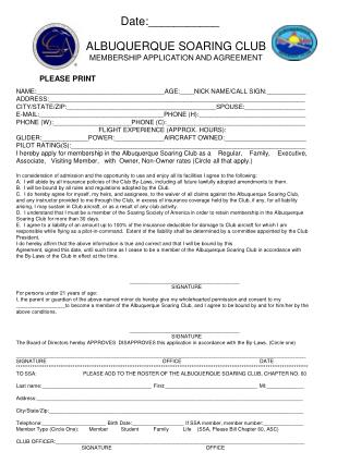 ALBUQUERQUE SOARING CLUB MEMBERSHIP APPLICATION AND AGREEMENT