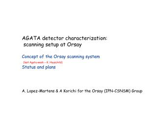 AGATA  detector characterization :  scanning setup at Orsay Concept of the Orsay scanning system