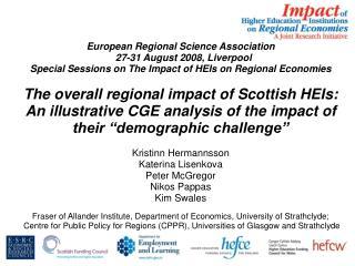 European Regional Science Association   27-31 August 2008, Liverpool