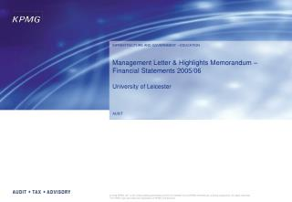 Management Letter & Highlights Memorandum – Financial Statements 2005/06