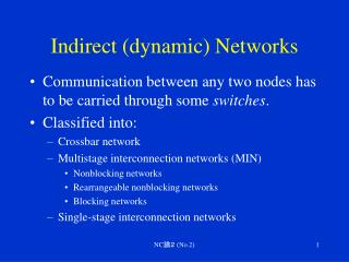 Indirect (dynamic) Networks