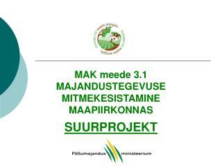 MAK meede 3.1 MAJANDUSTEGEVUSE MITMEKESISTAMINE MAAPIIRKONNAS SUURPROJEKT