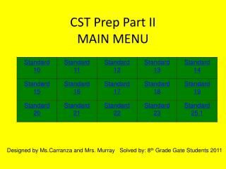 CST Prep Part II MAIN MENU