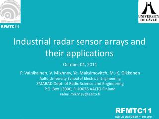 Industrial radar sensor arrays and their applications