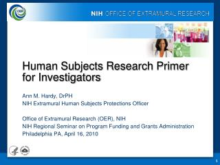 Human Subjects Research Primer  for Investigators