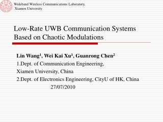 Low-Rate UWB Communication Systems Based on Chaotic Modulations
