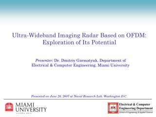 Ultra-Wideband Imaging Radar Based on OFDM:  Exploration of Its Potential