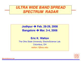 ULTRA WIDE BAND SPREAD SPECTRUM  RADAR