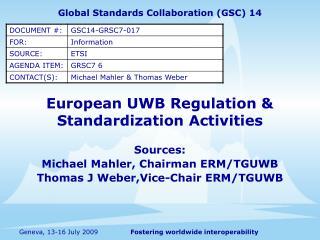 European UWB Regulation & Standardization Activities