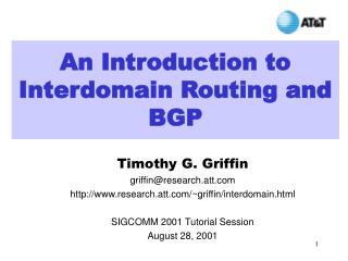 An Introduction to Interdomain Routing and BGP