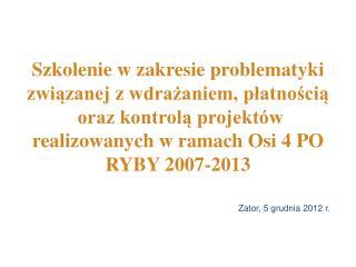 Analiza umowy  o dofinansowanie    PO RYBY 2007-2013