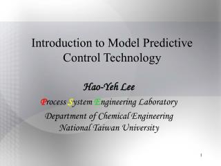 Introduction to Model Predictive Control Technology