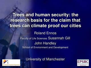 Trees and human security: the research basis for the claim that trees can climate proof our cities