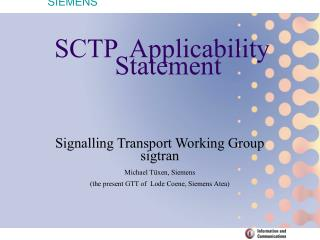 SCTP  Applicability Statement
