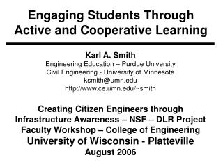 Engaging Students Through Active and Cooperative Learning