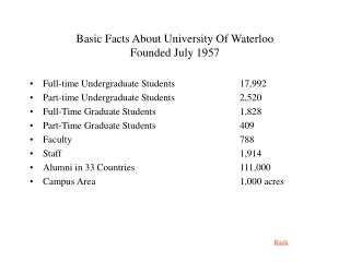 Basic Facts About University Of Waterloo Founded July 1957