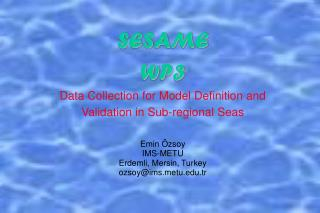 SESAME WP3 Data Collection for Model Definition and Validation in Sub-regional Seas Emin Özsoy