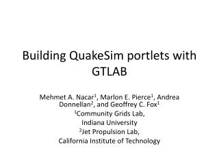 Building QuakeSim portlets with GTLAB