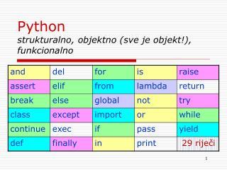 Python  strukturalno, objektno (sve je objekt!), funkcionalno