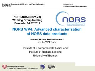 NORS/NDACC UV-VIS Working Group Meeting Brussels, 04.07.2012