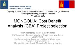 MONGOLIA: Cost Benefit Analysis (CBA) Project selection