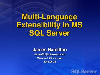 Multi-Language Extensibility in MS SQL Server