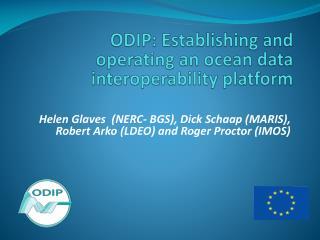 ODIP: Establishing and operating an ocean data interoperability platform