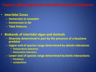 Factors affecting Rocky Intertidal Zonation Patterns