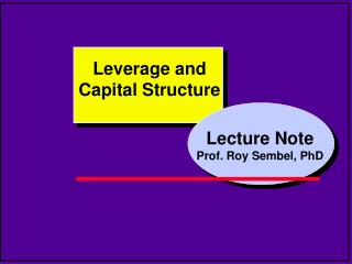 Lecture Note Prof. Roy Sembel, PhD