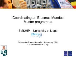 Coordinating an Erasmus Mundus  Master programme