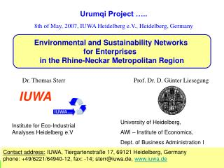 Urumqi Project ….. 8th of May, 2007, IUWA Heidelberg e.V., Heidelberg, Germany