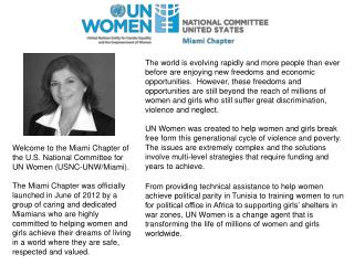 Welcome to the Miami Chapter of the U.S. National Committee for UN Women (USNC-UNW/Miami).