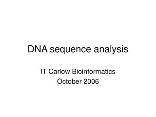 DNA sequence analysis