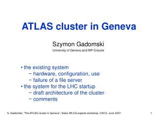 ATLAS cluster in Geneva